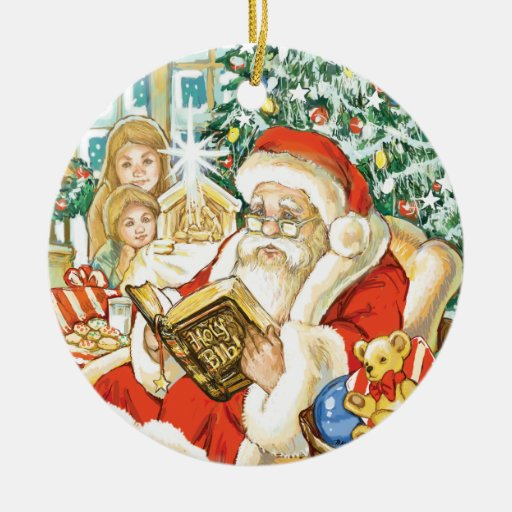 Santa Claus Reading the Bible on Christmas Eve Ornaments