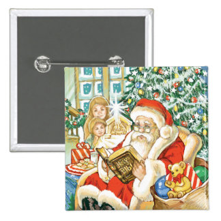 Santa Claus Reading the Bible on Christmas Eve Pin