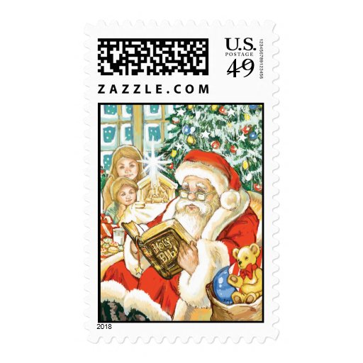 Santa Claus Reading the Bible on Christmas Eve Postage Stamps