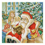 Santa Claus Reading the Bible on Christmas Eve Posters