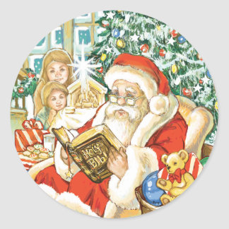Santa Claus Reading the Bible on Christmas Eve Classic Round Sticker