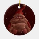 Santa Claus reads Christmas Ornament