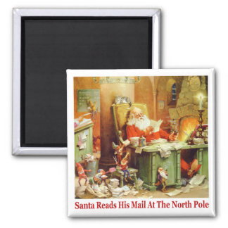 Santa Claus Reads His Mail at the North Pole Magnet