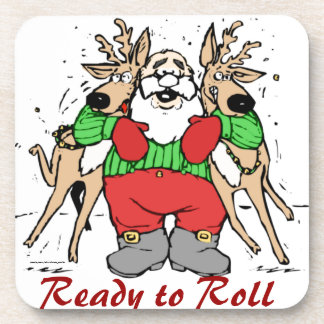 SANTA CLAUS READY TO DELIVER GIFTS BEVERAGE COASTER