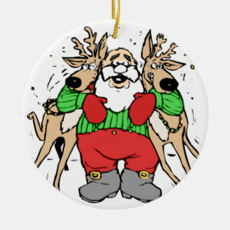 SANTA CLAUS READY TO DELIVER GIFTS Double-Sided CERAMIC ROUND CHRISTMAS ORNAMENT