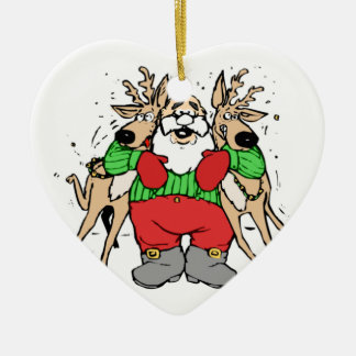SANTA CLAUS READY TO DELIVER GIFTS Double-Sided HEART CERAMIC CHRISTMAS ORNAMENT