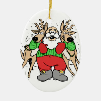 SANTA CLAUS READY TO DELIVER GIFTS Double-Sided OVAL CERAMIC CHRISTMAS ORNAMENT