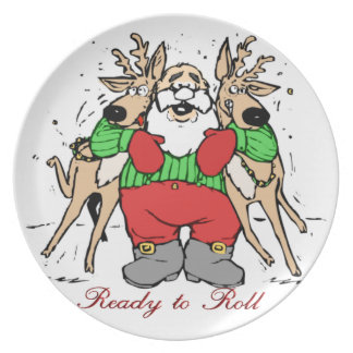 SANTA CLAUS READY TO DELIVER GIFTS PLATE