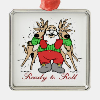 SANTA CLAUS READY TO DELIVER GIFTS SQUARE METAL CHRISTMAS ORNAMENT