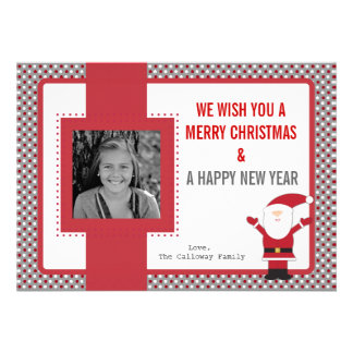 Santa Claus Red and White Dots Christmas Card