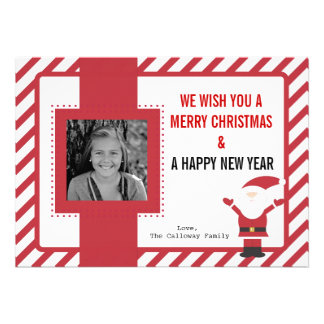 Santa Claus Red and White Stripes Christmas Card