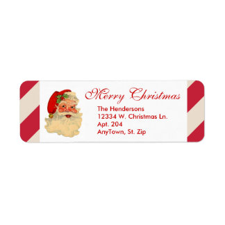 Santa Claus Red Candy Cane Stripe Custom Christmas Label