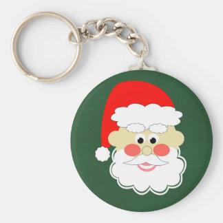 santa claus red green cartoon keychain