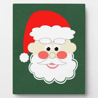 santa claus red green cartoon plaque