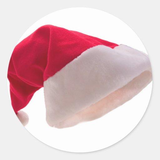 Santa claus red hat round stickers zazzle