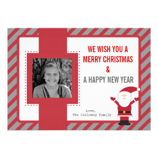 Santa Claus Red Stripes Christmas Card