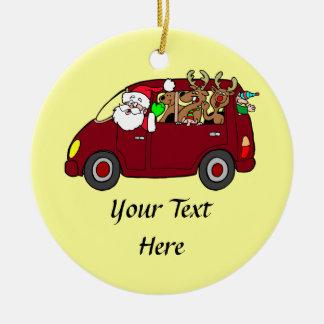 Santa Claus,Reindeer And Elves In Van Ceramic Ornament
