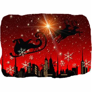Santa Claus Reindeer and Sleigh Flying Cutout