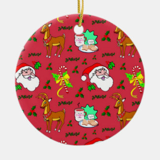Santa Claus – Reindeer & Candy Canes 2 sides Ceramic Ornament