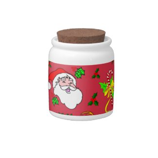 Santa Claus – Reindeer & Candy Canes Candy Jar
