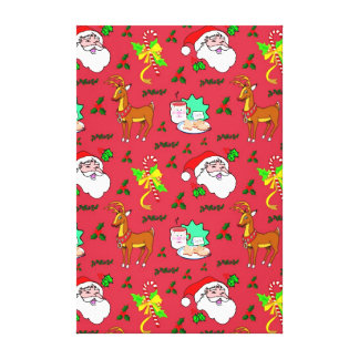 Santa Claus – Reindeer & Candy Canes Stretched Canvas Prints