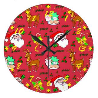 Santa Claus – Reindeer & Candy Canes Clock