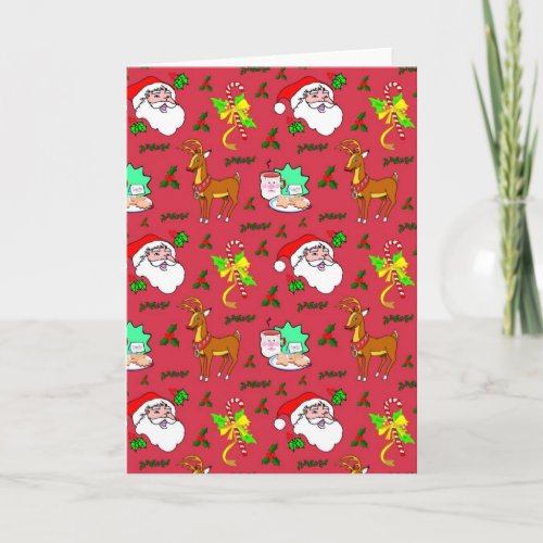 Santa Claus – Reindeer & Candy Canes Holiday Card