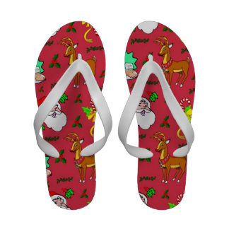 Santa Claus, Reindeer, Candy Canes, Holly, Cookies Sandals
