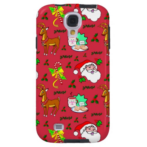 Claus, Reindeer, Candy Canes, Holly, Cookies Galaxy S4 Case  Zazzle