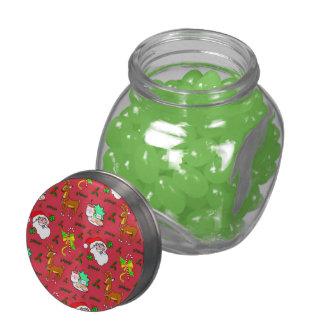 Santa Claus, Reindeer, Candy Canes, Holly, Cookies Glass Jars