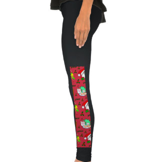 Santa Claus, Reindeer, Candy Canes, Holly, Cookies Legging Tights