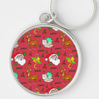 Santa Claus – Reindeer & Candy Canes Keychain