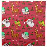 Santa Claus - Reindeer & Candy Canes Napkin