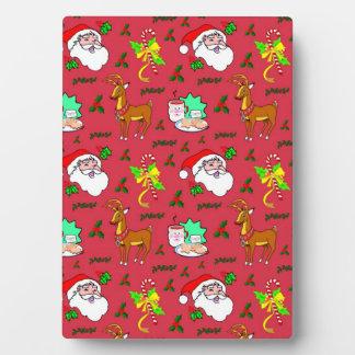 Santa Claus – Reindeer & Candy Canes Plaque