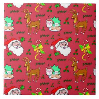 Santa Claus – Reindeer & Candy Canes Tile