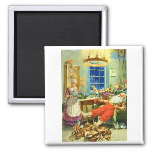 Santa Claus Returns to the North Pole 2 Inch Square Magnet