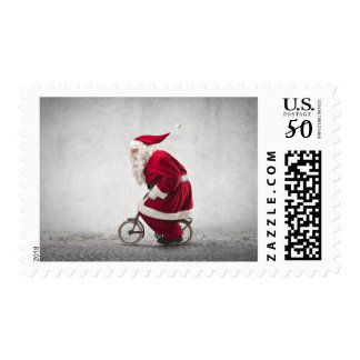 Santa Claus Rides A Bicycle Postage
