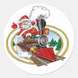 Santa Claus rides a Steam Locomotive Classic Round Sticker