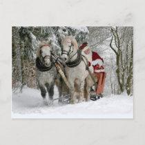 Santa Claus rides in a Horse sleigh Postcard