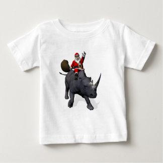 Santa Claus Rides Rhino Rhinoceros Baby T-Shirt