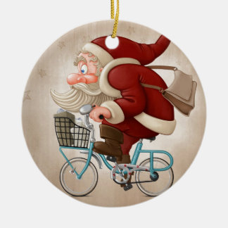 Santa Claus rides the bicycle Ceramic Ornament