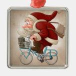 Santa Claus rides the bicycle Metal Ornament