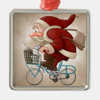 Santa Claus rides the bicycle Metal Ornament