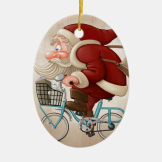 Santa Claus rides the bicycle Ornament