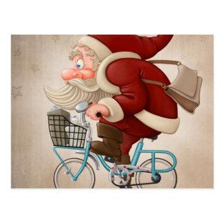 Santa Claus rides the bicycle Postcard