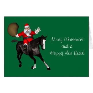 Santa Claus Riding A Black Horse Card