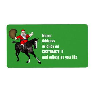Santa Claus Riding A Black Horse Label