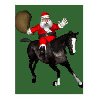 Santa Claus Riding A Black Horse Postcard