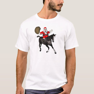 Santa Claus Riding A Black Horse T-Shirt