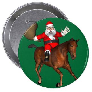 Santa Claus Riding A Brown Horse 4 Inch Round Button
